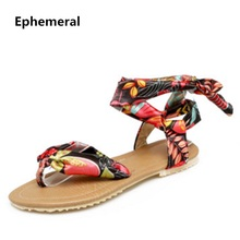 Woman ankle strap sandals flats printing clothing summer flip flops dress shoes ladies red black yellow super plus size 34-49(China)