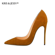 Kid Suede Classical Shallow Women Dress Shoes 6cm 8cm 10cm 12cm Thin High Heels Sexy Woman Party Pumps