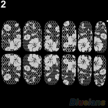 New 3D Lace Crystal Nail Art Tips Sticker Decal Full s DIY Decorations 1UPF(China)