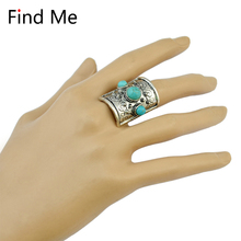 Find Me 2018 brand Gypsy Vintage Unique Carved Antique punk Totem Lucky big beads Rings Boho Beach joint rings for women Jewelry(China)
