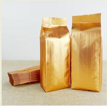 100pcs Golden Aluminum foil Heat Seal vacuum bag Square bottom Stand up storage dried food fruit tea packing pouch Various size(China)