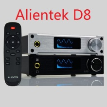 Alientek D8 Full Pure Digital Audio Headphone Amplifier Input USB/XMOS/Coaxial/Optics/AUX 80W*2 24Bit/192KHz DC28V/4.3A OLED