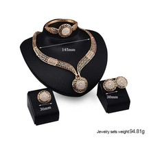 New Condition Golde Plated Jewelry Set Parure Bijoux Femme Gold Jewelry Full CZ Bridal Jewelry Set 4 Pcs /Set Indian jewelry Set(China)