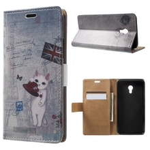 coque for Meizu m5 Phone Cases Patterned Wallet Leather Mobile Cover Case Shell for Meizu M 5 Cover- UK Flag and Cat Holding Hat