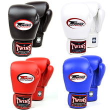 8 10 12 14 oz Twins Gloves Kick Boxing Gloves Leather PU Sanda Sandbag Training Black Boxing Gloves Men Women Guantes Muay Thai(China)