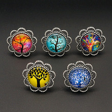 BL0149 Trendy Vintage Beauty Life of tree 5pcs Mixed 18mm Round Glass cabochon Ring adjustable DIY jewlery wholesale(China)