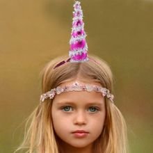 1Pcs New Hot Selling Lovely Kids Girls Tinsel Christmas Tree Hat Unicorn Hairbands Headband Headgear Hairband Party Decor(China)