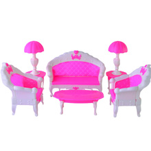LeadingStar 2017 6PCS SET Barbie Size Dollhouse Living Room Grand Parlour Sofa Set Best New Year Gifts for Children Gifts