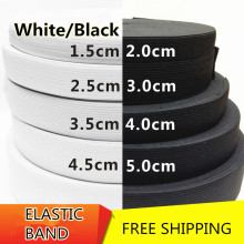 Knit Elastic Band 6/20/25/30/35/40/50mm x40m Heavy Duty Spandex/trim/sewing/notion DIY free shipping white black(China)
