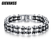 GIEVANSS 316L Stainless Steel Men's Motor Bike Chain Motorcycle Chain Bracelet Bangle Stainless Steel Jewelry with Silicone
