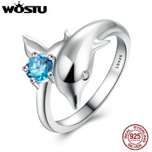WOSTU Hot Sale Real 925 Sterling Silver Playful Dolphin Elegant Ring For Women Real S925 Rings Fine Jewelry Gift CQR037