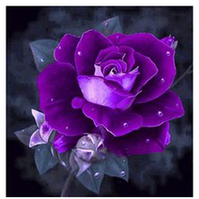 3D Needlework Diy Diamond Painting Diamond Embroidery Square Pasted Decorative Wall Stickers Cross Stitch Crafts Purple Rose