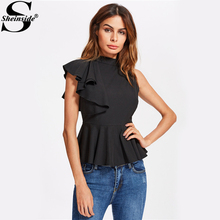 Buy Sheinside One Side Flounce Sleeve Ruffle Peplum Blouse Black High Neck Cap Sleeve Elegant Top 2017 Women Casual Blouse for $13.98 in AliExpress store