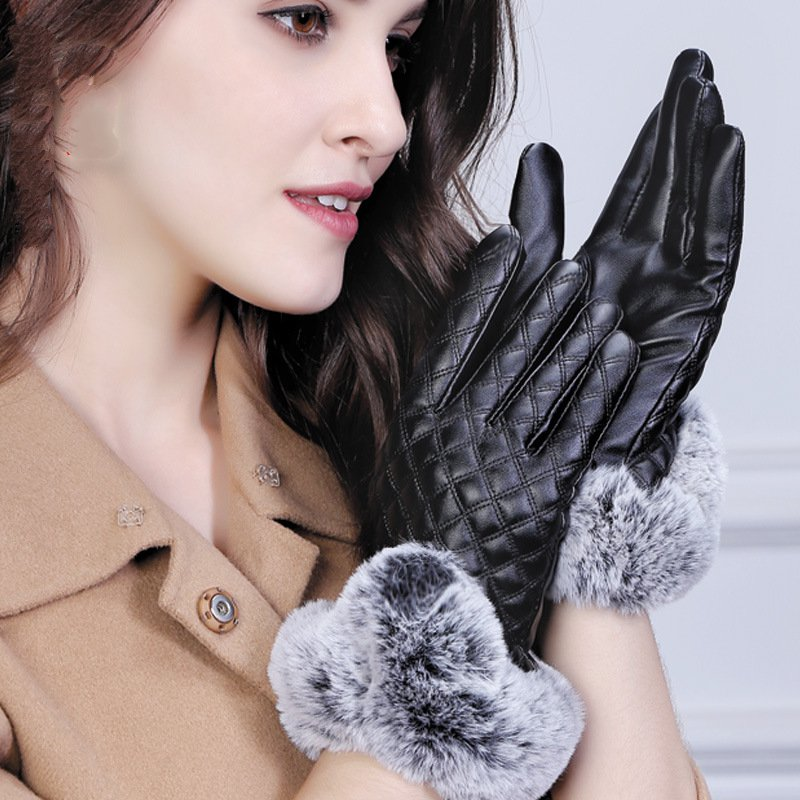 Womens leather gloves touch Quilted Rex burr warm velvet PU leather Korean leather gloves black<br>