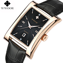 WWOOR Brand Luxury Date Square Quartz Watch Men Water Resistant Genuine Leather Casual Sports Wrist Watch Men Black Analog Clock(China)