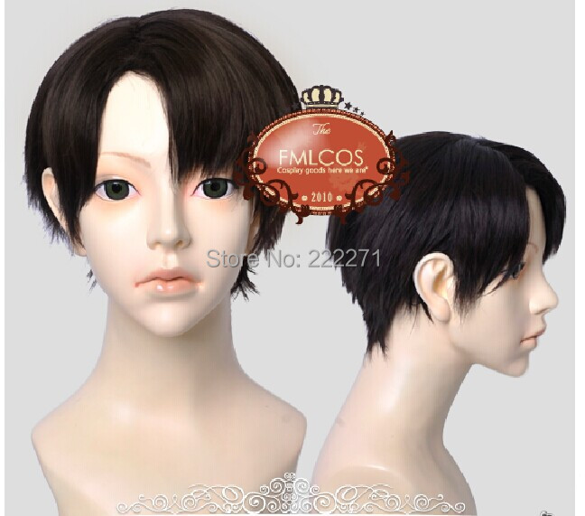 Free Track Anime Attack on Titan Levi Black Cosplay costume Wig Short   Heat Resistant  +Cap<br><br>Aliexpress