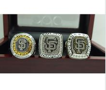 One Set 3 PCS 2010 2012 2014 San Francisco Giants MLB World Seires Championship Ring 7-15 Size Copper Solid Engraved Inside