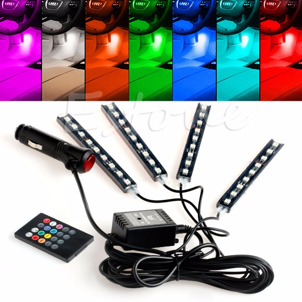 1PC Wireless Remote/Music/Voice RGB Control Car Truck 9 LED Neon Interior Light Lamp LED strips<br><br>Aliexpress