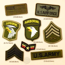 8pcs/lot AIRBORNE AIRFORCE Badges Patches Badge Embroidered Applique Sewing Iron On Patch Clothes Garment Apparel Accessories