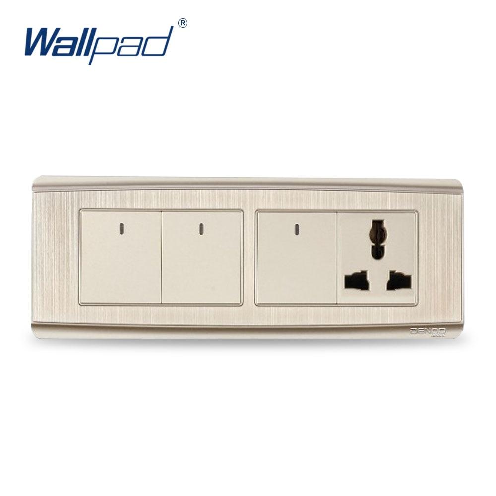 Free Shipping Wallpad Luxury Wall Switch Panel LED Indicator One-Side Click Light Switch 3 Gang 3 Pin Universal Socket<br><br>Aliexpress
