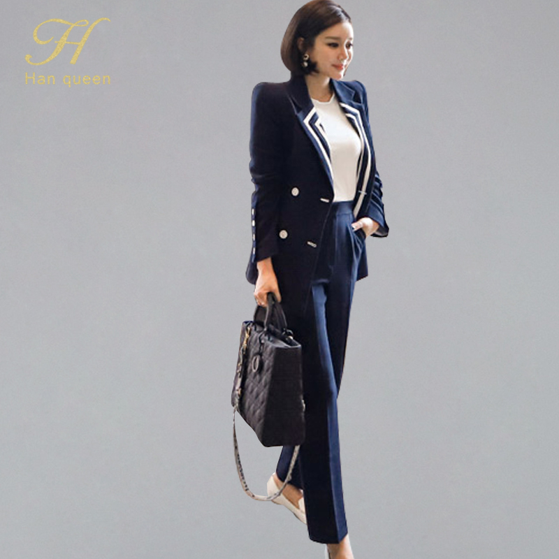 H Han Queen New Korean Style 2 Pieces Double-breasted Notched Neck Outwear Coat High Waist Long Pants OL Formal Wear To Work Set