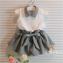 Baby Girls clothes set  white shirt and grey pants summer chiffon 2 pcs clothing set with belt for 3-10years old girls