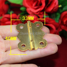 50pcs 33*40MM Steel with Golden Plated Small Gift Box Packing Box Jewelry Box Woonden Wine Box Door Hinge(China)