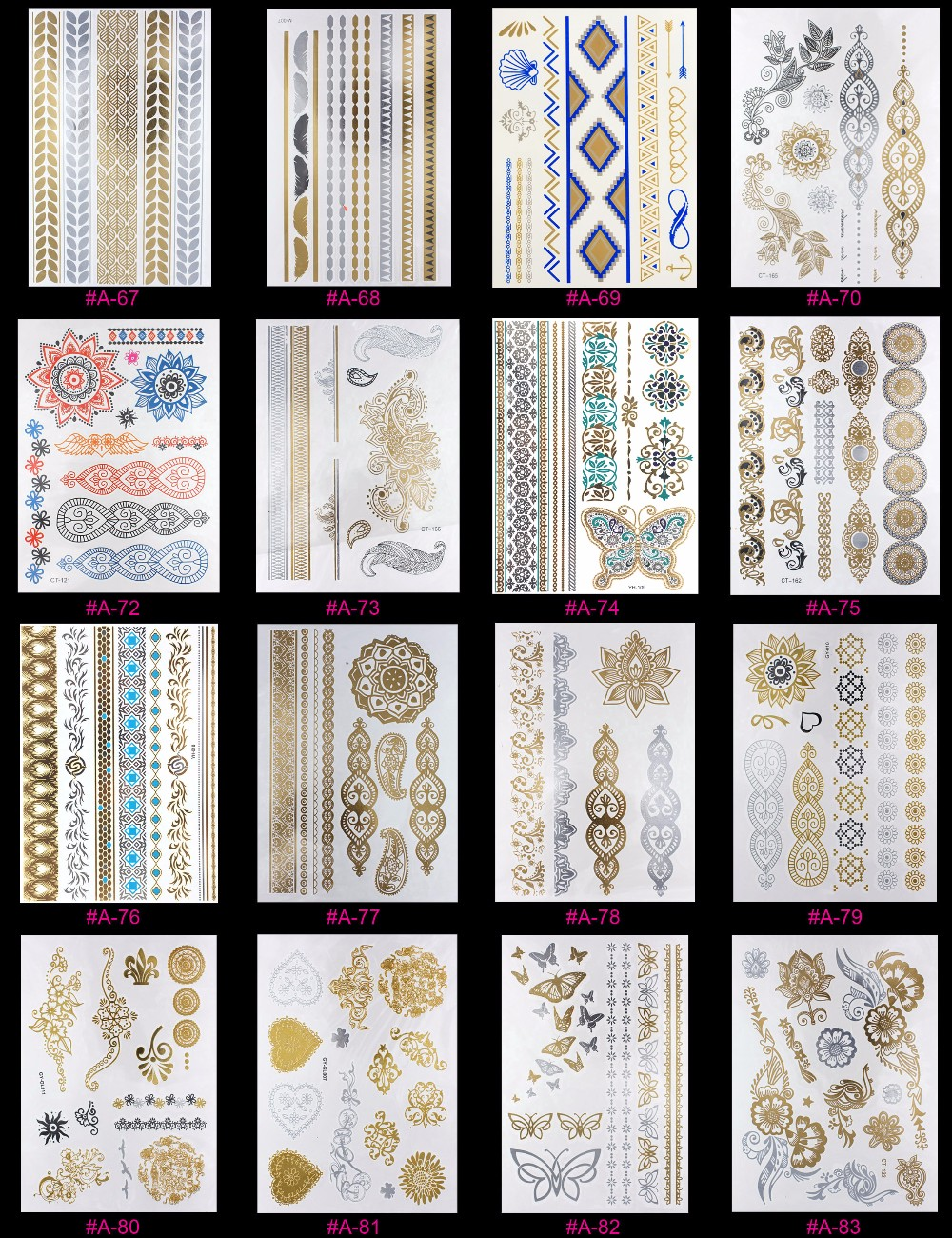 New Design Flash Removable Waterproof Gold Tattoos Metallic Temporary Tattoo Stickers Temporary Body Art Tattoo 16