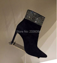 Elegant Black Suede Leather Ankle Boots Pointed Toes Clear Crystal Thin High Heels Boots Short Boots Women Shoes Ladies Female