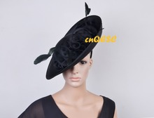 NEW Black ARRIVAL! Large Matte satin fascinator Formal dress hat sinamay hat for Wedding Races.FREE SHIPPING
