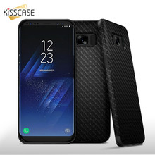 KISSCASE Carbon Fiber Armor Soft TPU Case For Samsung Galaxy S8 S8 Plus Twill Skin PU Hybrid Shockproof Cover For Galaxy S8 Plus(China)
