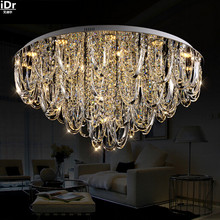 Contemporary European living room lamp crystal lamp bedroom lamp LED Crystal Round Ceiling Lights Upscale atmosphere Dia800mm(China)
