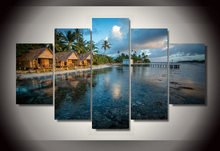 Framed Printed Beach house 5 pieces Group Painting room decor print poster picture canvas Free shipping/dd-557