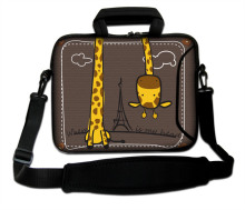 "Neoprene Laptop Handle Shoulder Bag 10""13""14""15""17"" Inverted Giraffe Pattern Notebook Baldric Sash Cover Pouch For Intel Samsung"