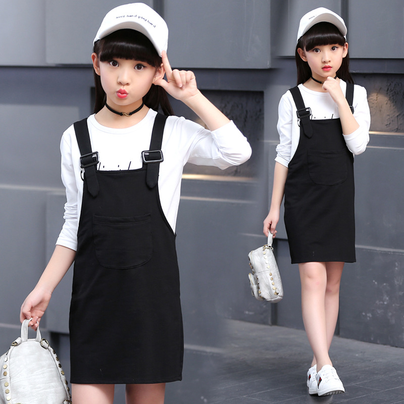 Casual Style 2017 Baby Girl Dress Set Solid Color T-shirt + Suspender Dress Kid Cotton Clothes Suit Children Spring Two Pieces<br><br>Aliexpress