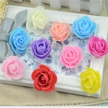 100pcs 4cm Mini PE Foam Lace Rose Flower Head Artificial Handmade DIY Wedding Home Decoration DIY Scrapbooking Wreath Kiss Ball(China)