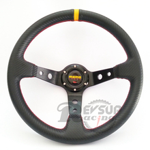 Deep Dish 350mm 14inch Carbon Fiber Style PVC Racing MOMO Steering Wheel