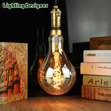 A130 big edison led bulb E27 spiral light amber retro saving lamp vintage filament bulb Edison lamp led light chandelier 220V4W