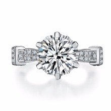 Test Positive Solid 14K White Gold Jewelry Ring Splendid 3CT Brand Moissanite Diamond Ring Engagement for Fiancee AU585