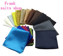 New Fashion Men Silk Handkerchief Pocket Square Plain Solid Color Satin Hanky for Wedding Prom Suit