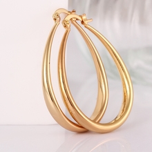 New Fashion Jewelry 24k Gold Hoop Earrings for Women pendientes aros brincos Free shipping boucle d'oreille Women Ear Loop Oval(China)