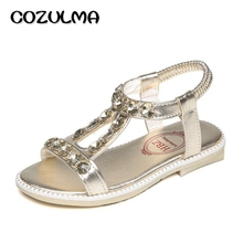 COZULMA 2017 Kids Shoes Child Girls Summer Shoes Girls Rhinestone Sandals Girls Fashion Sandals Children Gladiator Roman Sandals