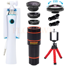 Buy 12X Telephoto Zoom Lenses Mini Selfie Stick Camera lens Kit Wide Angle Macro 235 degree Fisheye Lentes iPhone 6 7 Smartphone for $17.47 in AliExpress store