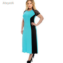 Black Blue Patchwork Midi Dresses 2016 Spring Latext Designer Women  Lace Knitted Dress  Plus Size 5XL 4XL 7xl 6xl