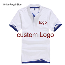 Custom Polo shirt Customized Printing Logo Service company/hotel/Staff Unisex Short Sleeve Cotton Polos(China)