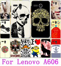 Hot Painted Cases For Lenovo A606 Housing Cool Skull Head Phone Skull Life Soft TPU & Hard PC Covers For Lenovo A606 Shell Hood