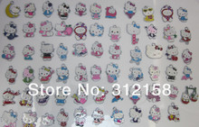S4587366! Wholesale 100Pcs/Lots DIY Alloy Enamel mixed hello kitty Charms Metal Charms(China)