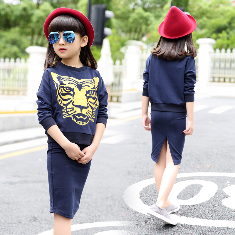 6-14Y Fashion Teenager Girls Clothing Set Tiger Print Long Sleeve T-Shirt + Skirt 2pcs Winter Spring Fall 10 12 years Kids Suits<br><br>Aliexpress