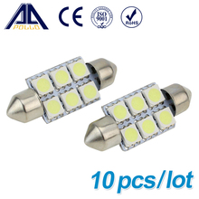 10pcs Xenon White 36mm Festoon 5050 6 SMD LED C5W Car Led Auto Interior Dome Door Light Bulb Pathway lighting 6smd 12V Work Lamp
