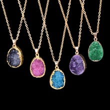Qilmily Fashion natural stone gold purple blue crystal pendant necklace summer jewelry gift(China)